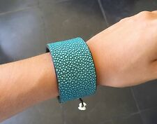100% Genuine Shagreen Skin Cuff Bracelet Exotic Stingray Leather Turquoise