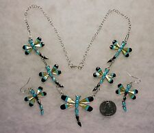 ZUNI ANGUS AHIYITE DRAGONFLY NECKLACE EARRINGS Black Jet Turquoise Abalone, # 17
