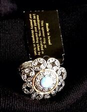 NWT Or Paz Creations Sterling Silver 14K Gold Opal CZ Ring Sz 6.5 Made in Israel