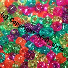 100 PONY BEADS in MIXED Colours & Finishes 9x6mm Barrel Shape