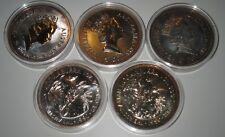 Kookaburra 1990 1oz Silber 999 5 Stück in runder Kapsel