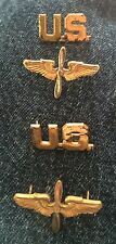 WWII Air Corps Pilot Insignia Officer Prop & Wings w US Collar Pins Vintage WW2