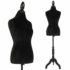 Black Female Mannequin Torso Dress Form Display W/ Black Tripod Stand