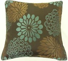 SUPERB TEAL BROWN EMBROIDERED 45.7cm CUSHION COVER RIV