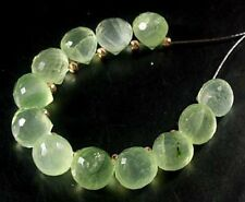 12 NATURAL GREEN PREHINTE FACETED ONION BRIOLETTE BEADS 6.5 MM  N5