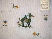 """EP 1061 Vintage Preworked """"Medieval Dragon Brick Cover"""" Needlepoint Canvas"""