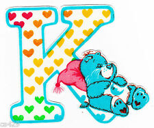 "4"" CARE BEARS ALPHABET ABC'S LETTER K NAME MONOGRAM FABRIC APPLIQUE IRON ON"