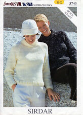 ~ Sirdar Knitting Pattern For Lady's Super Chunky Sweater To Knit ~