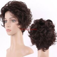 Beauty Short Brown Wig 100% Natural Curly Wave Straight Synthetic Hair Full Wigs