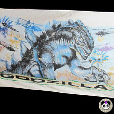 "Vtg Godzilla Beach Towel 90s 1998 54"" x 31"" Monster Hellicopter Dinosaur"