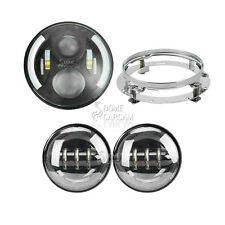 "7"" Black Daymaker LED Angle Eye Headlight KIT For Harley 1994-2013 Touring Parts"