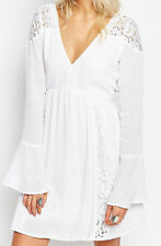 Abercrombie & Fitch White Pretty Lace Caftan Bell Sleeve Boho Party Dress S 8 10