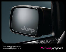 JEEP LOGO MIRROR DECALS STICKERS GRAPHICS DECALS x3 IN SILVER ETCH VINYL