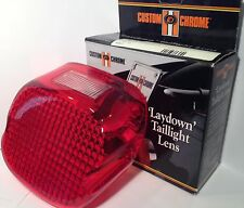 Taillight Lens Red Laydown Harley Davidson window Custom Chrome NEW 1973-1999