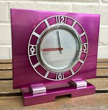 STUNNING- c1930 ART DECO LE COULTRE SWISS MADE MAUVE LACQUERED DESK MANTEL CLOCK