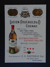Carte de visite 1902 COGNAC LUCIEN-FOUCAULD & Co MORECAMBE old visit card