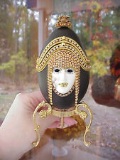 REAL Hand Decorated Carved Goose Egg Trinket/Keepsake Music Box Cleopatra Mask