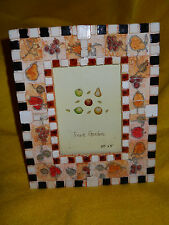 Fruit Garden ~ Fruit Themed Photo Picture Frame @ checker board edge ~ 3 1/2 x 5