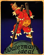 WATERMAN IDEAL FOUNTAIN PEN CLOWN LEGS GLOBE 8X10 VINTAGE POSTER REPRO FREE S/H