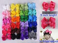 """Colorful 24 colors 5"""" big bow Baby Girl Grosgrain Hairbow Aligator clips 430B Y"""