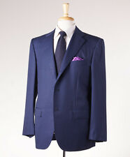 NWT $8495 KITON NAPOLI Blue Stripe Super 180s Wool-Silk Suit 46 R Modern-Fit