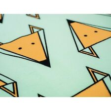 Printed Stretch Jersey Knit Fabric -Foxs/Mint - 92% Cotton 8% Elastane HalfMetre