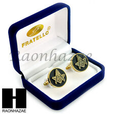 MENS 14K GOLD PLATED FREEMASON MASONIC MASON SIGN G SQUARE CUFFLINKS GIFT BOX