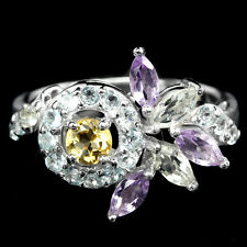 Natural  CITRINE, TOPAZ & AMETHYST Stones 925 STERLING SILVER RING Size 6.75