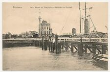 Cuxhaven 1907, alter Hafen mit Telegraphen-Gebäude und Zellball
