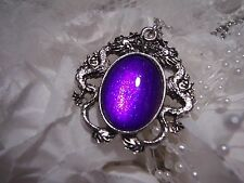 goth PURPLE GLITTER Dragons BREATH Dragon eye Silver Necklace Pendant MEDIEVAL