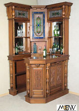 4Ft Solid Mahogany Corner Home Pub Bar w/ Stained Glass   (so)