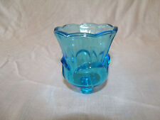 1 THICK TULIP SHAPED BLUE GLASS VINTAGE HOME INTERIOR VOTIVE CUP CANDLE HOLDER