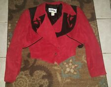 vtg CHIA women's black red leather medium 80s glam rock western jacket country