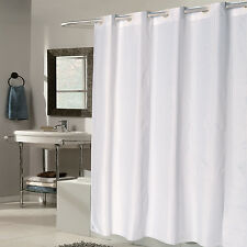 """EZ On White Check Fabric 70""""x75"""" Hookless Shower Curtain/Liner"""