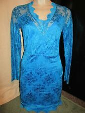 BNWT £35 River Island Dress UK 10 Blue Floral Lace Long Sleeve Scallop Edge Knee