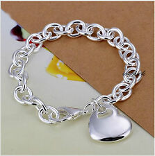 925 Sterling Silver Chunky Love Heart Bracelet Ladies Men Christmas Present