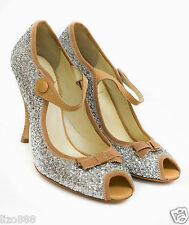NEW Miu Miu Glitter Mary Jane open toe pumps Sz UK3.5