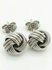 14k Italian White Gold Love Knot Stud Earrings Italy 9mm