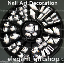 #ER58 Acrylic Nail Art Decoration 8 Style White Resin Glitter Rhinestone + Wheel