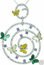 Solid 925 Sterling Silver Multi-color Enamel CZ Butterfly Pendant Necklace '