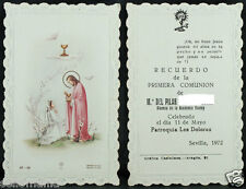 OLD FIRST COMMUNION REMEMBRANCE HOLY CARD YEAR 1972 ANDACHTSBILD SANTINI   C1040