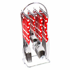 24 Piece Amefa Red White Dot Stainless Steel Cutlery Set Hanging Storage Caddy