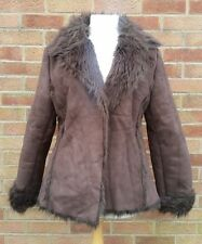URBAN OUTFITTERS Vintage Brown Fully Faux Fur Lined Coat Jacket Longline 8 10