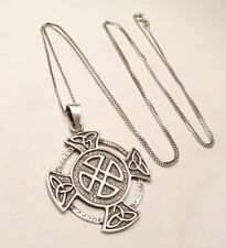 "VINTAGE ROUND CELTIC KNOT CROSS PENDANT ON 30"" INCH CHAIN STERLING SILVER 925"