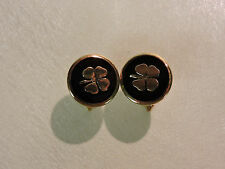 Four Leaf Clover Cuff Links - Black and Gold