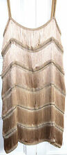 ZARA DRESS STUNNING PINK GOLD NUDE 1920'S STYLE FLAPPER CHARLESTON FRINGES  SZ L