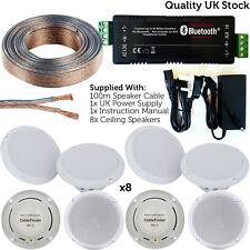 Bar/Restaurant Bluetooth 8x Ceiling Speaker - Wireless Background Music Amp Kit