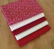 Blenders in RUBY RED leaf, dots & spots fabric Fat Quarter Bundle 100% cotton