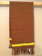Handwoven Cotton Scarf, Brown with Mango Band, 12x60