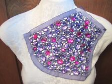 "7"" Bead & Sequin ***JEWELED*** Large Applique PURPLE - FUSCHIA  a"